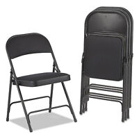 Alera Steel Folding Chair with Two-Brace Support, Fabric Back/Seat, Graphite, 4