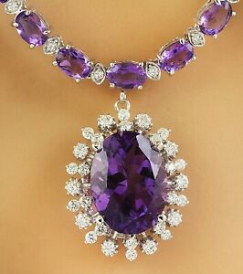 37.80 Carat Natural Amethyst 14K Solid White Gold Diamond Necklace