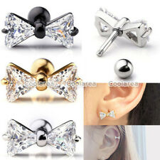 Ring Bar Cartilage Ear Stud Earrings Piercing 3x 16g Steel Cz Bow Tragus Helix