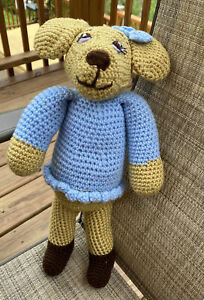 Handmade 16in Puppy Dog Crochet Stuffed Animal Toy Doll Perfect For Baby Shower