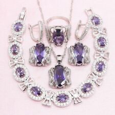 Purple Amethyst Jewelry Set 925 Silver Bow Oval Inlaid Bracelet Ring