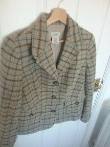 Vintage LL Bean Womens Blazer Jacket Size S Wool Silk tweed