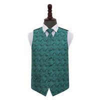DQT Woven Floral Paisley Teal Mens Wedding Waistcoat & Tie Set