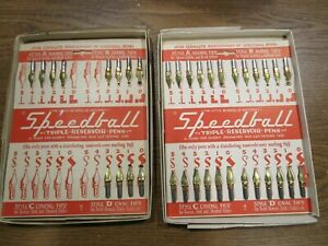 Vintage Speedball Triple Reservoir Pens Nibs On Cards Style A & B Lot of 36