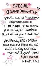Special Granddaughter Inspired Words Keepsake Credit Card & Envelope