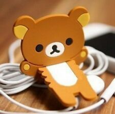 Brown Rilakkuma Relax Bear Earphone Cable Bobbin Winder Holder 1pc ☆