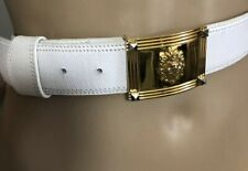 White Leather Vintage belt with gold Lion Buckle sz small
