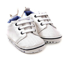 New Baby boy perforated white sneaker crib shoes 0 - 6 Months