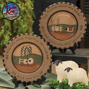 "Primitive Folk Art Sheep Thick/Thin Wooden Plate CHOICE 9.5"""