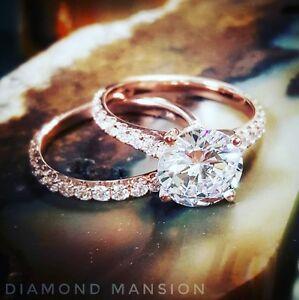 1.60 Ct Natural Round Cut Pave Diamond Wedding Set - GIA Certified