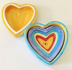 Susan Lovine 1999 Uccellino Open Your Heart Ceramic Nesting Hearts Trinket Box