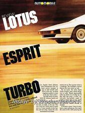 1986 1987 Lotus Esprit Turbo Original Car Review Print Article J689