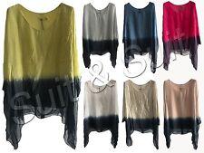 Women Ladies Italian Lagenlook Tye Dye Silk Print Batwing Tunic Top Plus Size