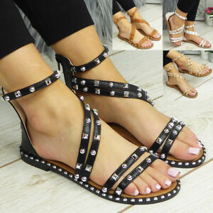 Gladiator Sandals Flats Zip Strappy Summer Comfy Casual Shoes Ladies Womens Size