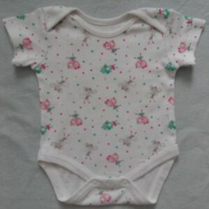 WHITE WITH MOUSE CAT PRINT BABY GIRL BODY SLEEP SUIT SHORT SLEEVE 6-12 month VGC