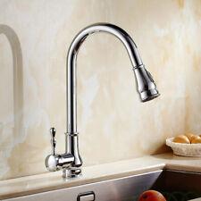 Chrome Kitchen Pull Out Swivel Spout Faucet Brass Sink Single Handle Mixer Tap