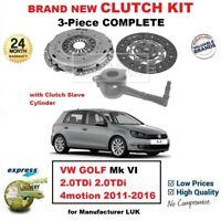 FOR VW GOLF Mk VI 2.0TDi 2.0tdi 4motion 2011-2016 NEW 3PC CLUTCH KIT with CSC