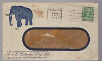 Australia 1945 battery advertising cover with Elephant