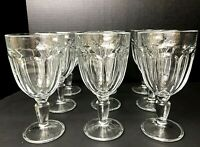 Lot 9 VTG Heavy Pressed Clear Glass Water Goblets Stemware Stem Ware Thumbprint