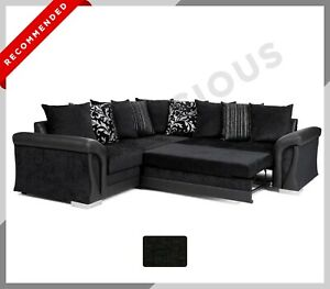 NEW CORNER SOFA BED Shannon Black Fabric Scatter Back Pattern Cushions Storage