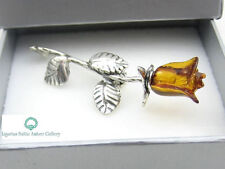 NATURAL BALTIC AMBER STERLING SILVER 925 BROOCH ROSE Hand Carved Certified