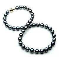 Pacific Pearls® 10-12mm Tahitian Black Pearl Diamond Gold Necklace Wedding Gifts
