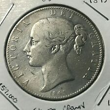 1845 GREAT BRITAIN SILVER YOUNG VICTORIA CROWN COIN