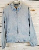Polo Ralph Lauren Mens Size M Blue Denim Jean Jacket USA Full Zip Bomber VTG EUC