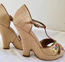 b884d641c529 DKNY Italy T-Strap Wedge Sandals Tan Camel yellow green pink stones Size 6