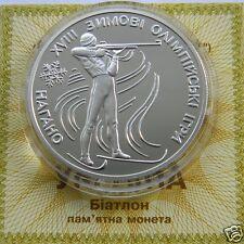 BIATHLON Ukraine Proof Silver 1 Oz 10 UAH 1998, Olympic Games Japan Sport KM# 45