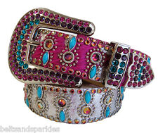 Kippys Kippy Swarovski Crystal Fuschia Leather Belt 34 L New
