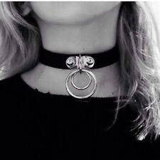 Double Classic Punk Rock Dark O Ring Leather Harajuku Collar Choker Necklace