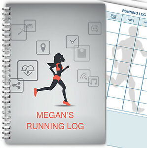 A5 PERSONALISED RUNNING JOGGING LOG BOOK DIARY 100 pages RECORD FOR HER LADY 01