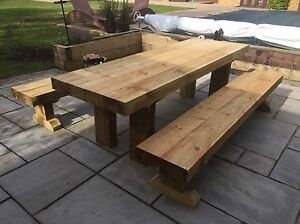 Garden Furniture Timber Sleeper Table And Bench Set 2400x800 Seats 8-10