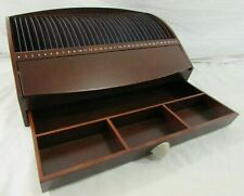 Levenger Redwood 31 Slot Day Letter/ Bill/ Mail Organizer Desk Top w/ Drawer
