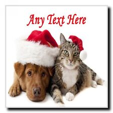Cat And Dog Christmas Personalised Drinks Mat Coaster