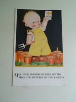 Mabel Lucie Attwell Valentines No 3282 Flowers+Seeds Postcard 1936 §E1886