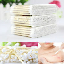 White Wooded Double Pointed Head Makeup Removing Cotton Buds Swabs Q-tip 100pcs