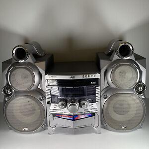 JVC CA-MXGT88 460W 3-CD Dual Cassette Stereo System w/GigaTube Speakers Working