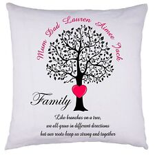 PERSONALISED Family Tree Cushion Cover Mother's Day Birthday ANY OCASSION GIFT