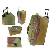 Large Wheeled Trolley Holdall Duffel Bag Travel Bag Luggage Green & Tan Suede