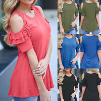 Fashion Women Ladies Off Should Short Sleeve Round Neck Loose T-Shirt Blouse New