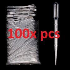 100 pcs  plastic transfer pipettes droppers graduated 3 ml  NON-STERILE NEW