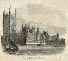 Stampa antica LONDRA Parlamento LONDON Parlament 1857 Old antique print