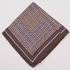 New $135 ERMENEGILDO ZEGNA Brown Houndstooth Check Wool and Silk Pocket Square