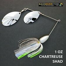 Bassdozer spinnerbaits DOUBLE FLUTED 1 oz N. CHARTREUSE SHAD spinner bait lure