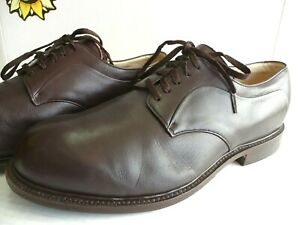 Vintage Men's Oxford Handmade Shoes, Brown Leather. US Size 11 D Made in Italy.