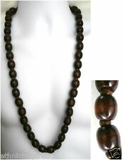 """AFRICAN ETHNIC INSPIRED MENS 33"""" LONG 16MM BROWN WOOD NECKLACE"""