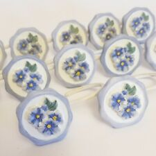 Shower Curtain Hooks with Blue Flowers Pansies Set of 12 Round