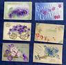 6 Vintage Heavily Embossed Best Wishes Birthday Greetings Postcards Flowers